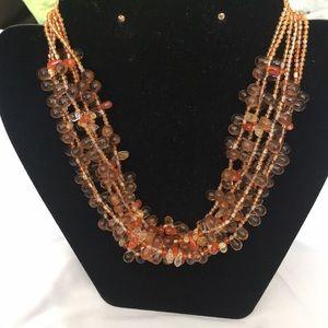 Semi-Precious Amber Gemstones Necklace